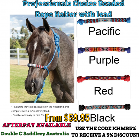 Professionals Choice Beaded Rope and Braided Halters with lead